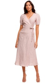 Jillian Boustred Layla Wrap Dress Caramel Stripe midi