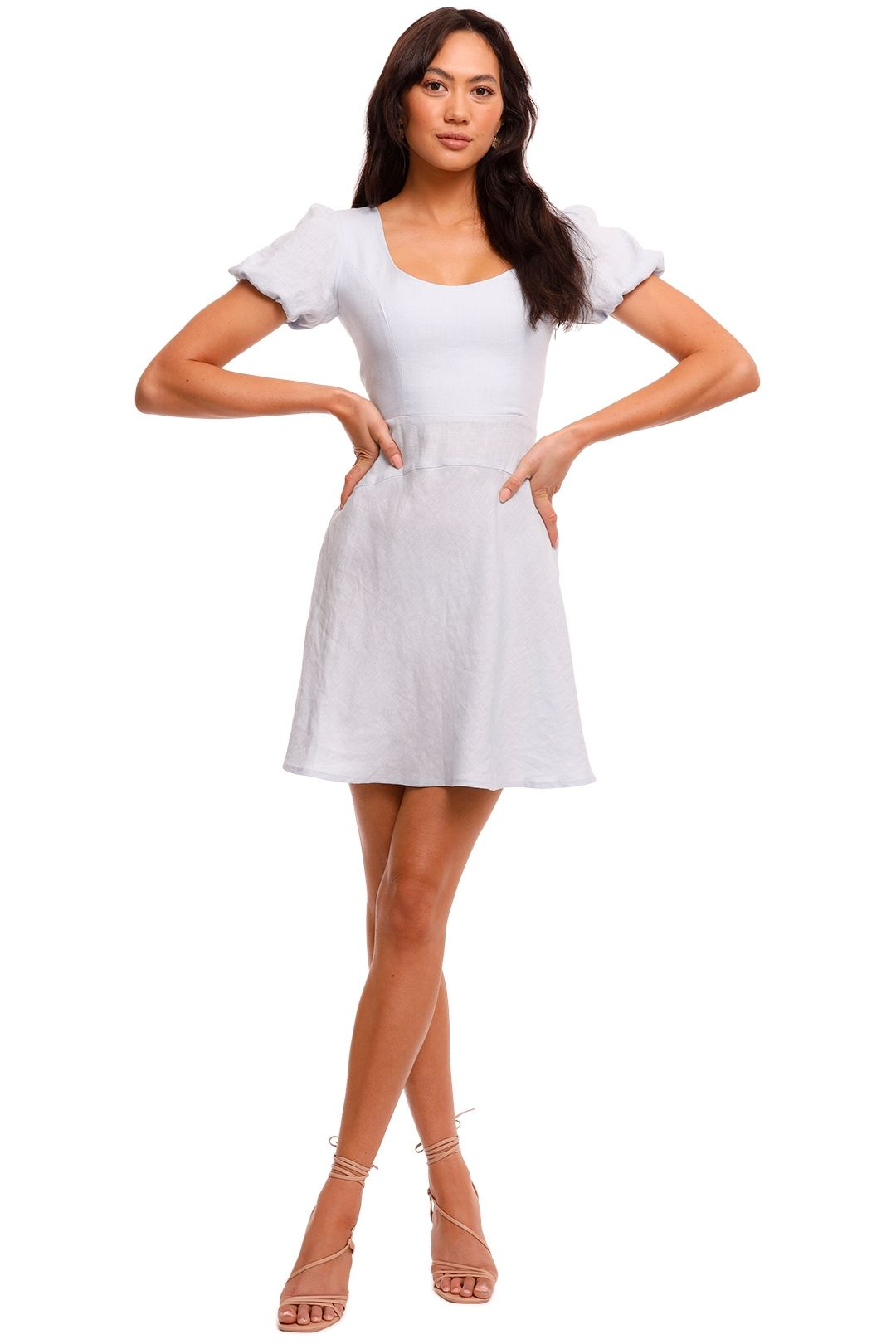 Jillian Boustred Natasha Mini Dress Powder Blue scoop