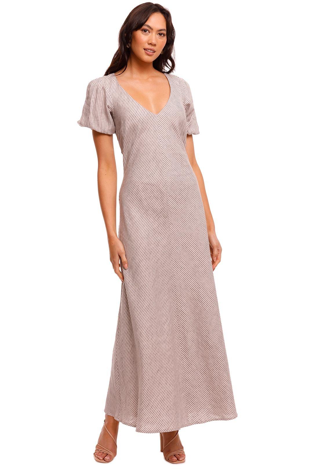 Jillian Boustred Phillipa Dress Brown Stripe maxi