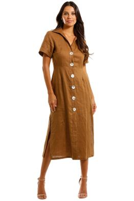 Jillian Boustred Safari Dress Coffee Midi Summer Dress