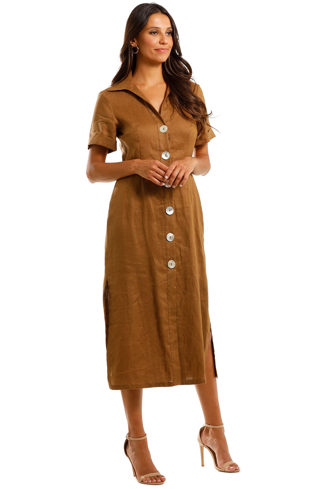Jillian Boustred Safari Dress Coffee Brown Midi Dress