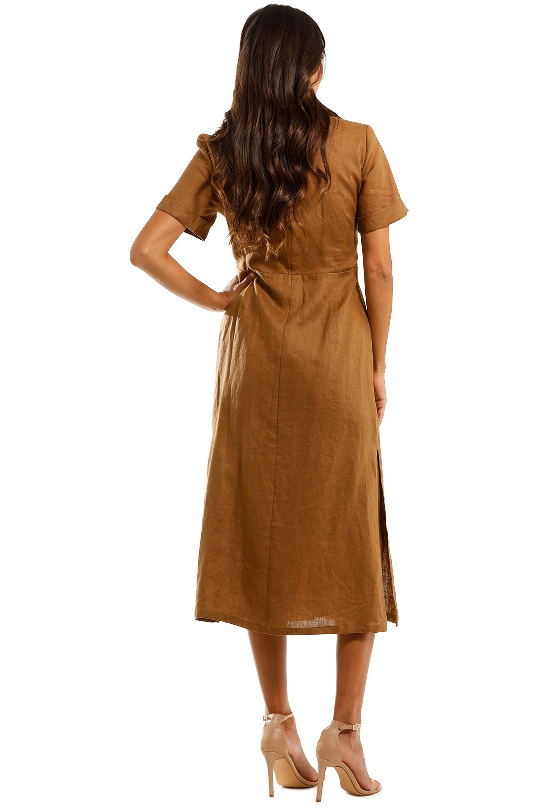 Jillian Boustred Safari Dress Coffee Linen Shirt Dress