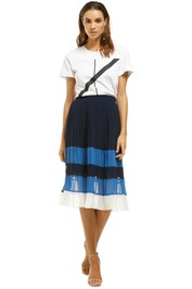 Joie-Alpons-Pleated-Color-Block-Chiffon-Skirt-Blue-Front