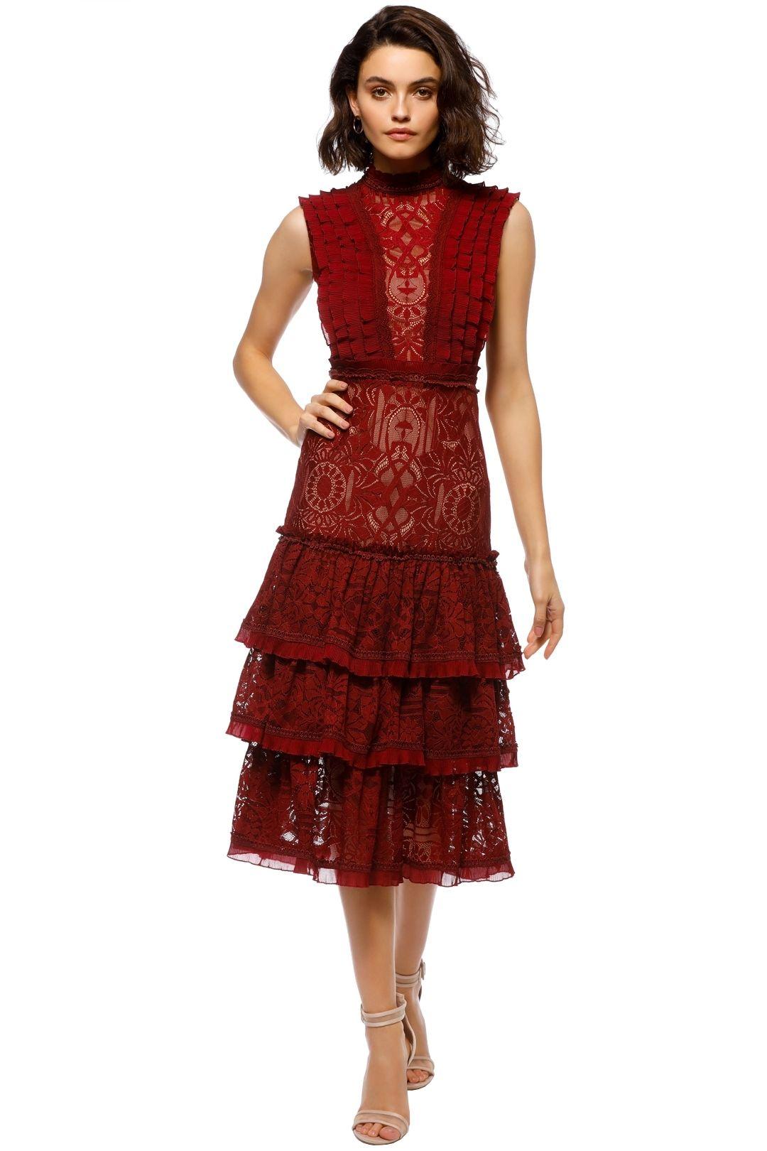 Jonathan Simkhai - Tower Lace Ruffle Dress - Red - Front