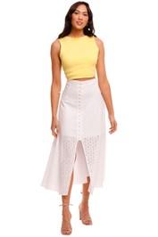 Joslin Maddison Linen Lace Midi Skirt white