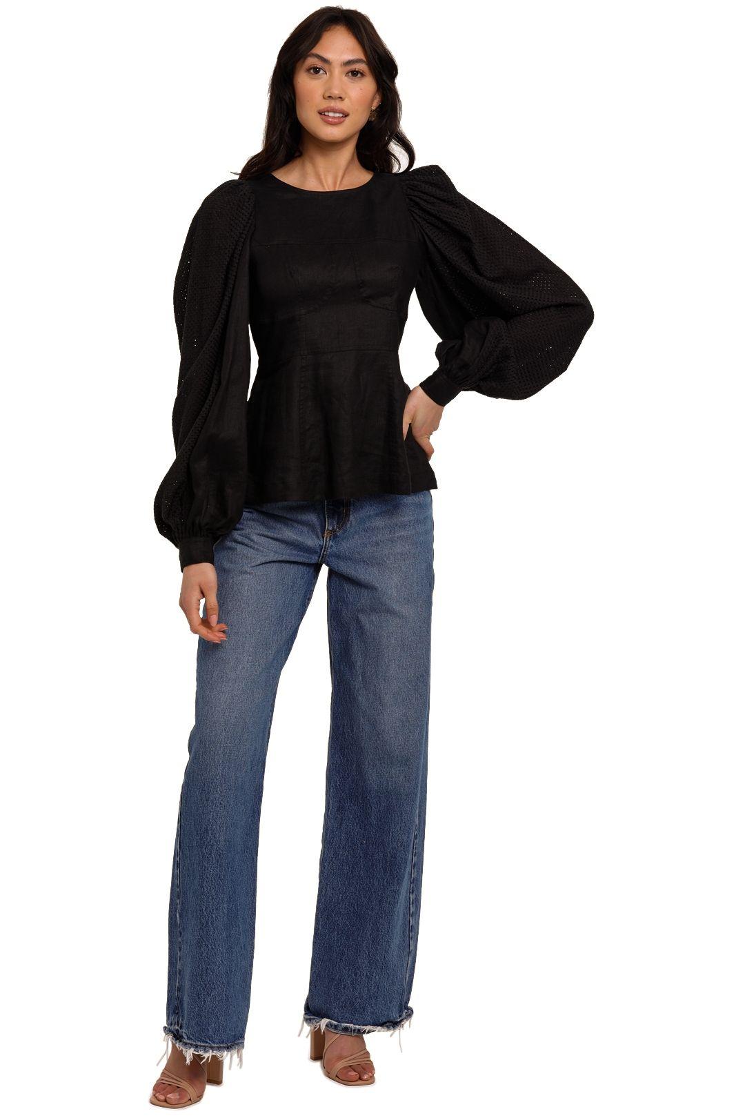 Joslin Reagan Linen Crochet Top Black balloon sleeve