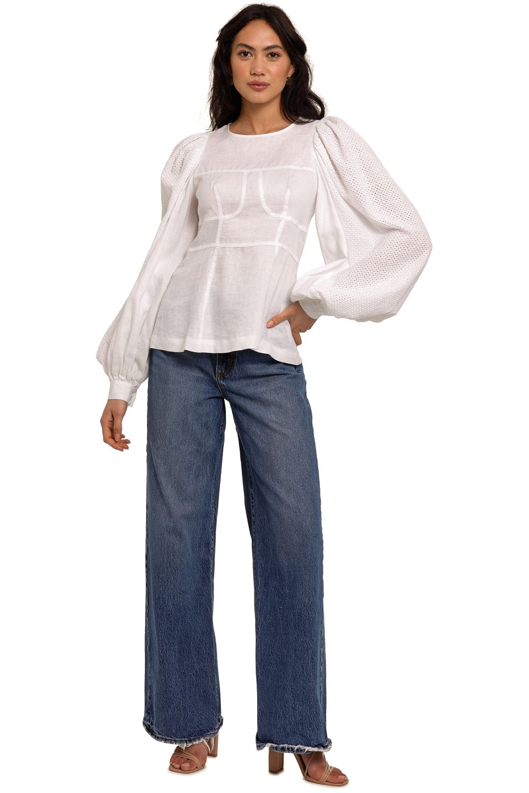 Joslin Reagan Linen Crochet Top White