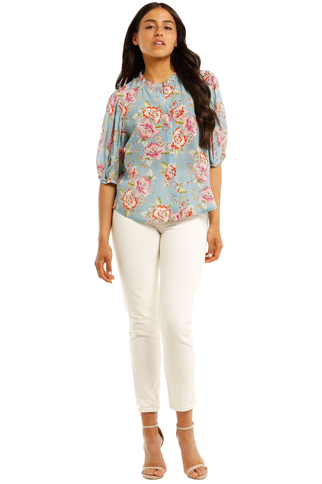 Kachel-Julia-High-Neck-Ruffle-Button-Down-Blouse-Front