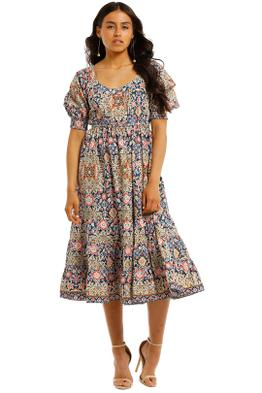 Kachel-Kelly-Elasticated-Waist-Cotton-Midi-Dress-Front