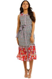 Kachel-Sandra-Button-Down-Contrast-Print-Midi-Dress-Front