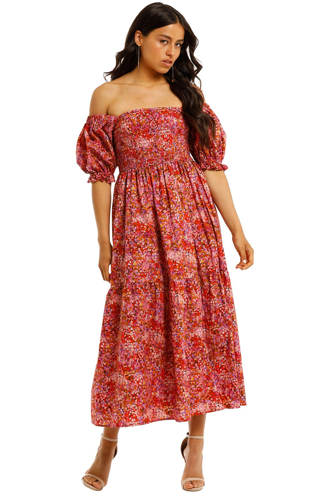 Kachel-Tilly-Shirred-Cotton-Midi-Dress-Front
