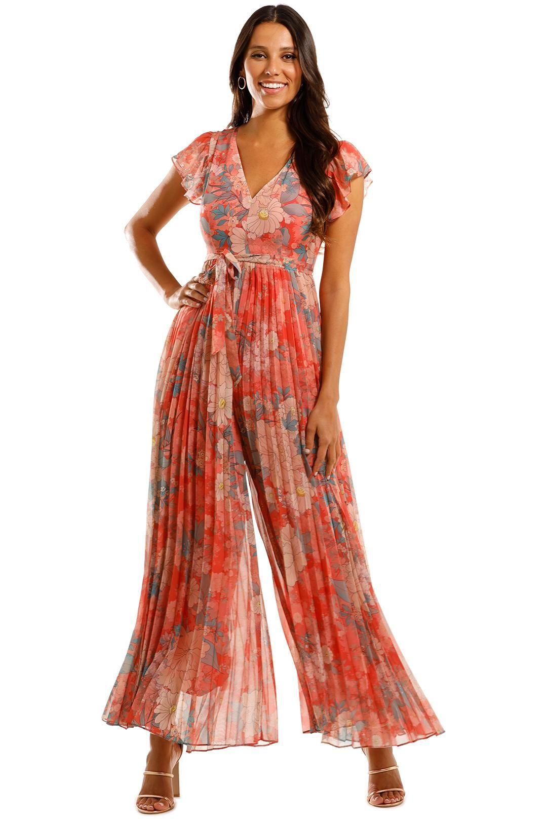 Kachel Annmarie Ruffled Pleated Floral Jumpsuit Boho