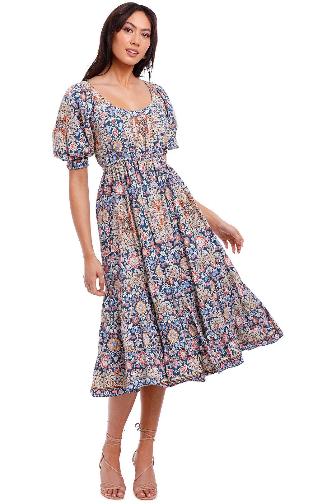 Kachel Kelly Elasticated Waist Cotton Midi Dress
