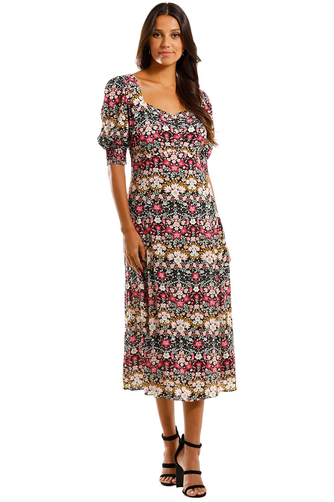 Kachel Leah Short Puff Sleeve Sweetheart Midi Dress Floral