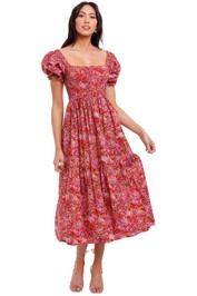 Kachel Tilly Shirred Cotton Midi Dress