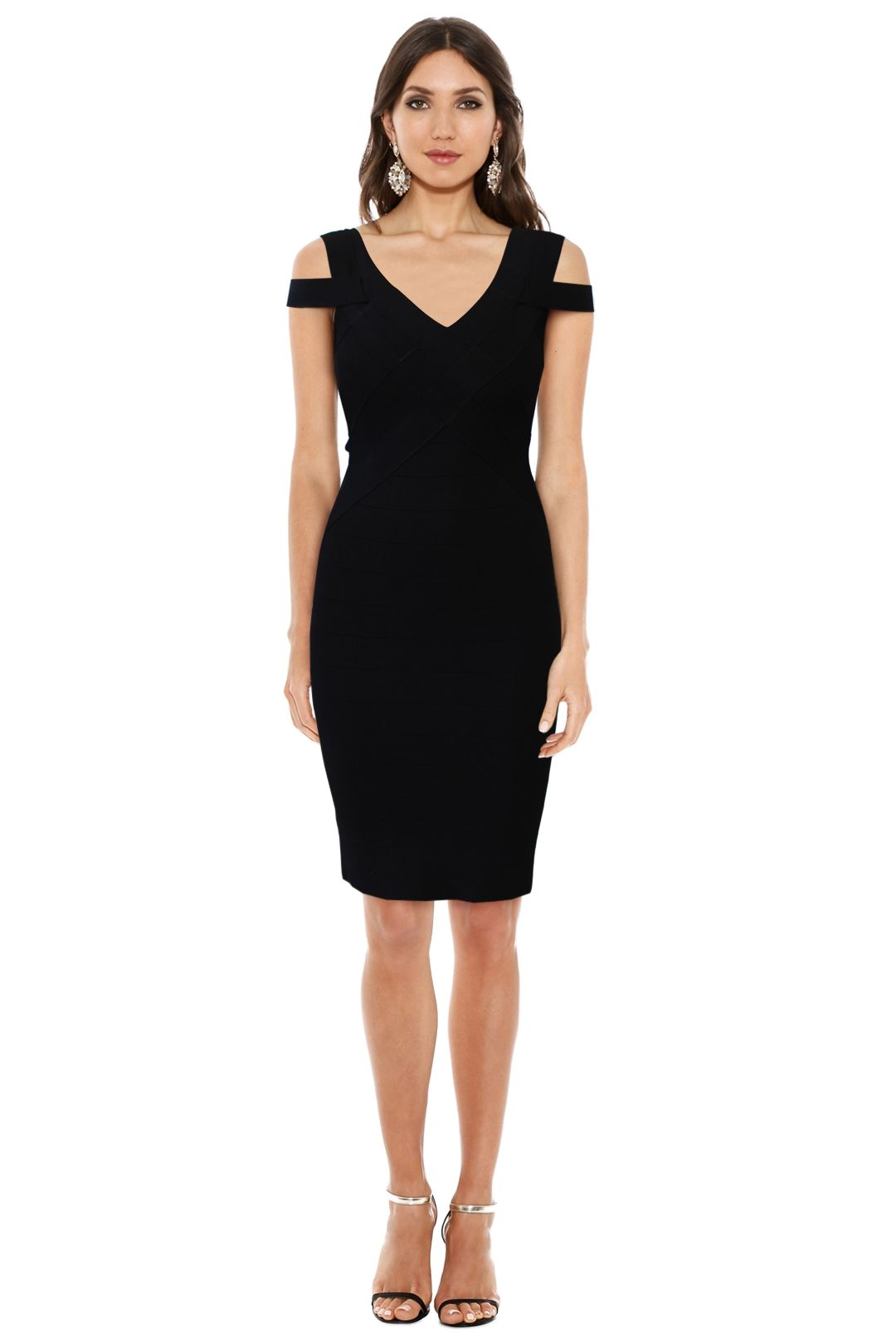 Karen Millen - Black Knit Dress - Black - Front