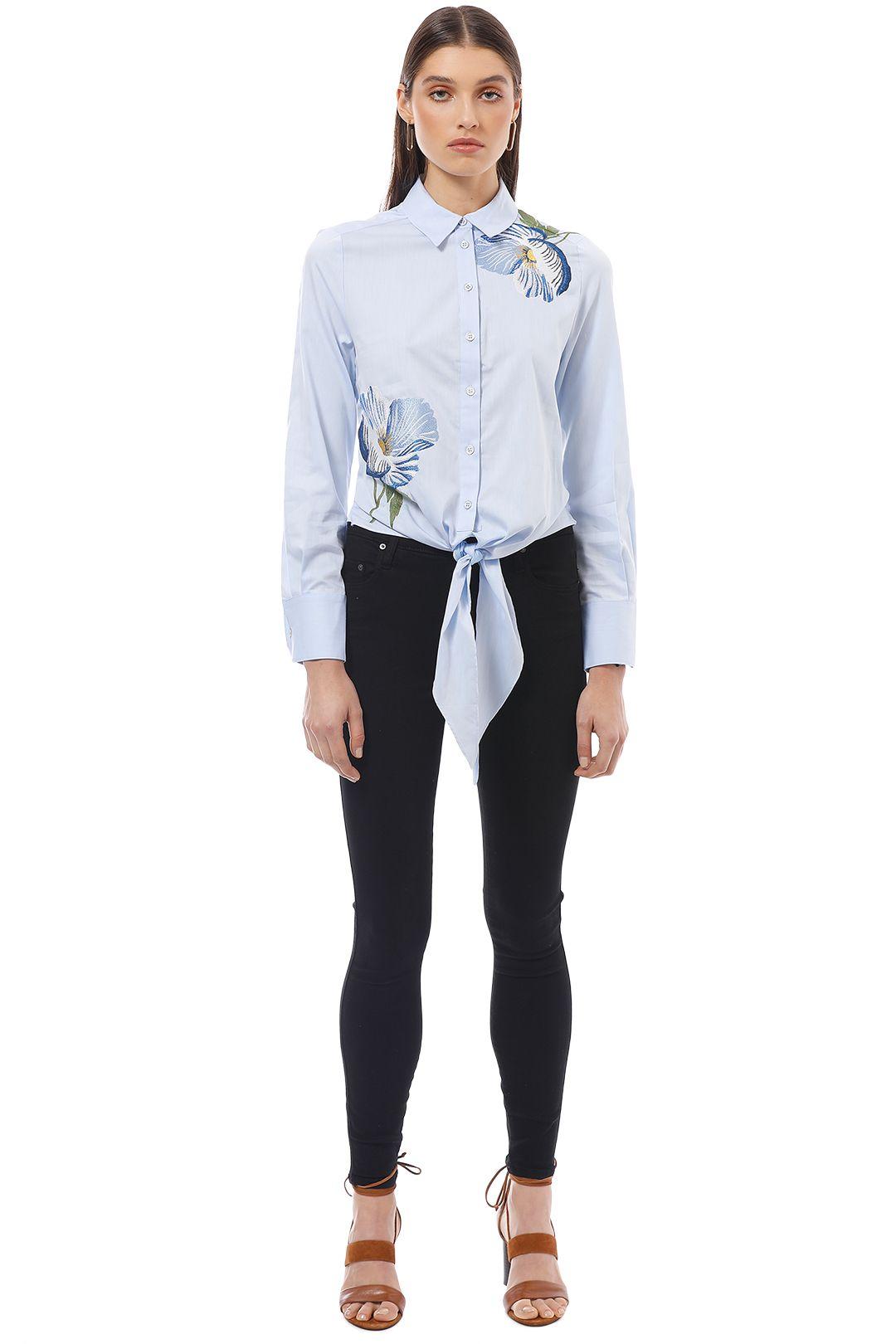 Karen Millen - Floral Embroidered Shirt - Blue - Front