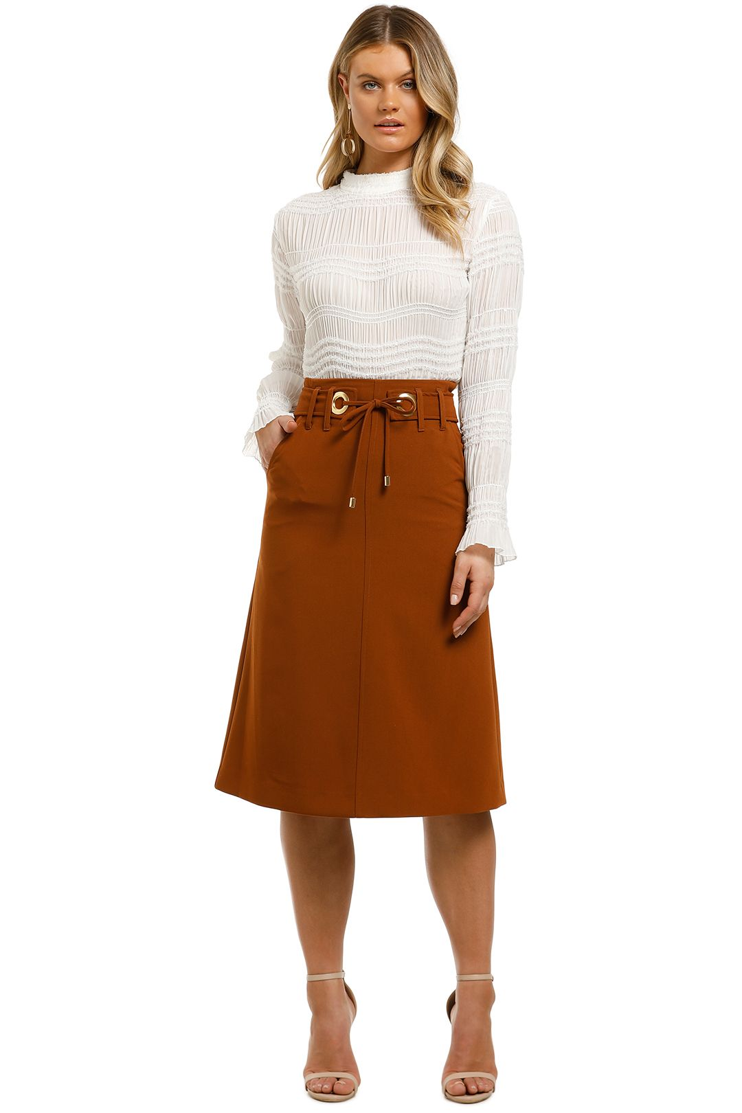 Kate-Sylvester-Lauren-Skirt-Tobacco-Front