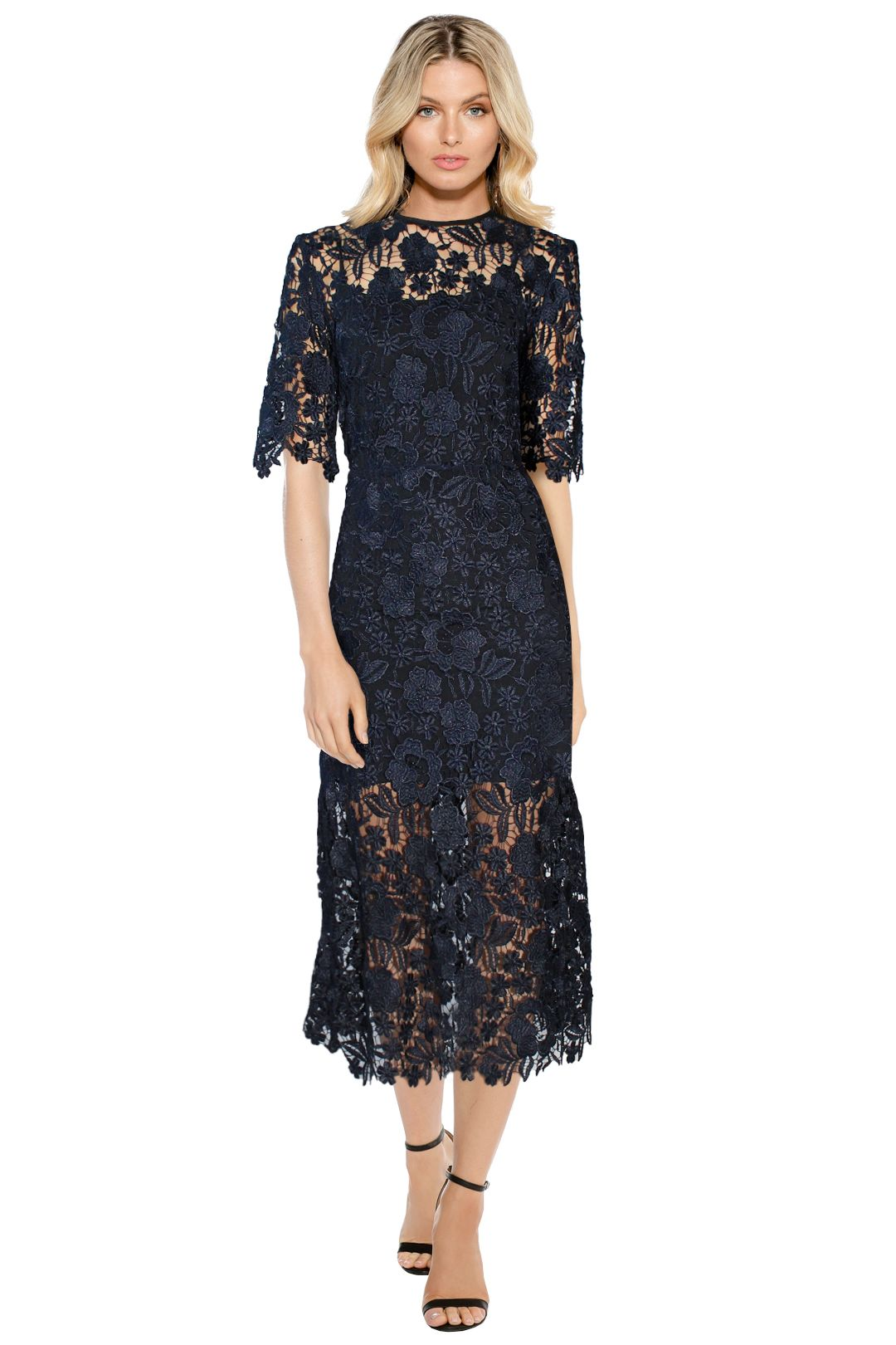 Kate Sylvester - Elsa A Line Dress - Navy - Front