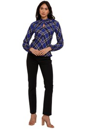 Kate Sylvester Emily Long Sleeve Check Top blue