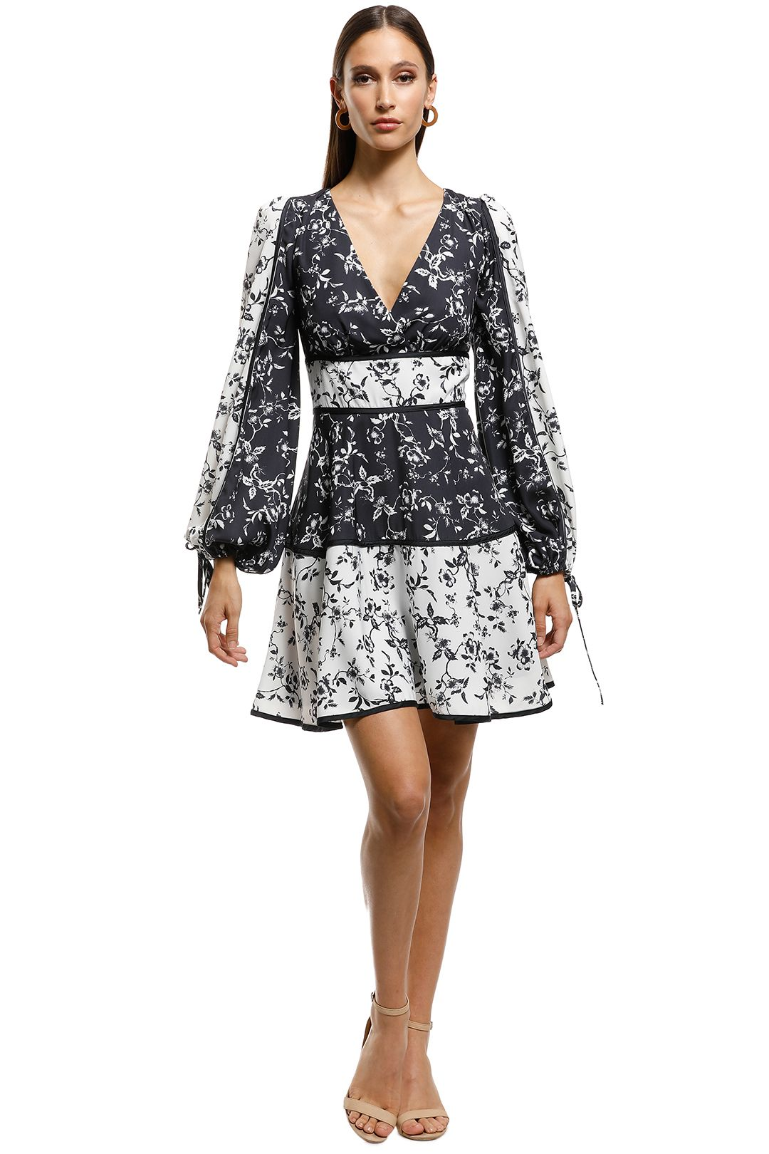 Keepsake the Label-Depend LS Dress-Black-White-Front