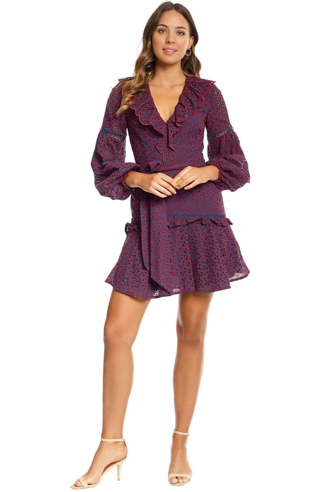 Keepsake The Label - Blossom LS Mini Dress - Burgundy Red - Front