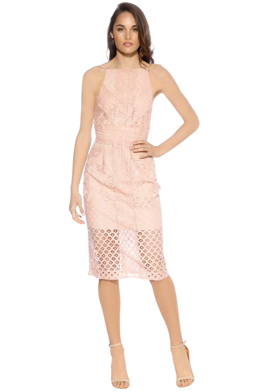 Keepsake The Label - Bridges Lace Midi Dress - Blush - Front