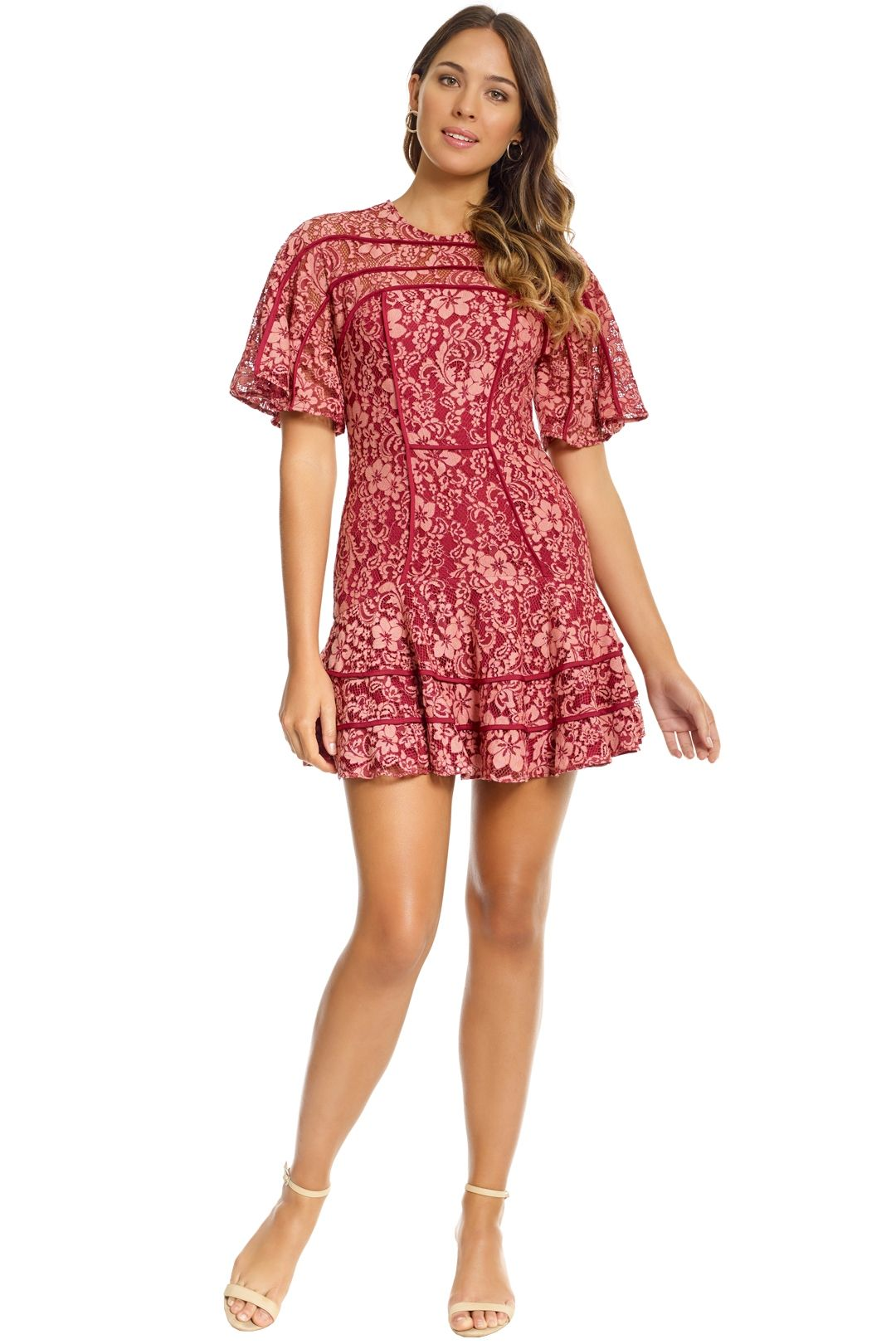 Keepsake the Label - Dreamers Lace Mini Dress - Rosewood - Front