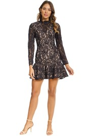 Keepsake the Label - Dreamers LS Lace Mini Dress - Black - Front