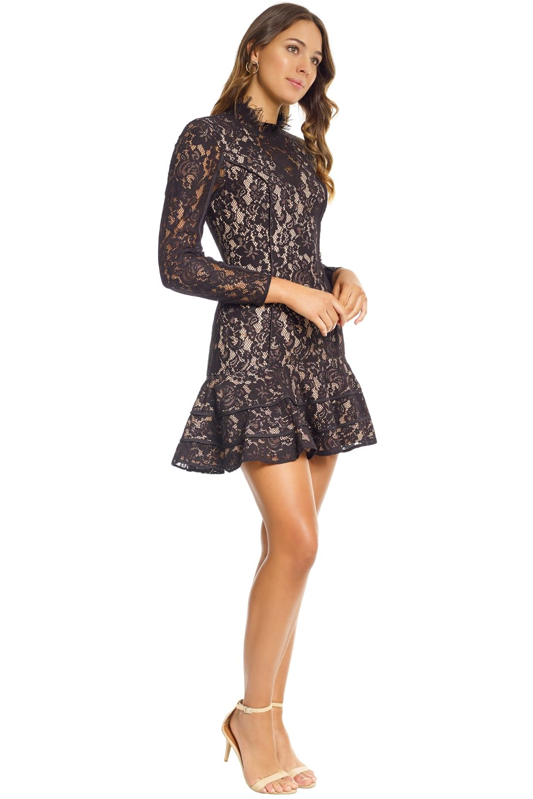 Keepsake the Label - Dreamers LS Lace Mini Dress - Black - Side