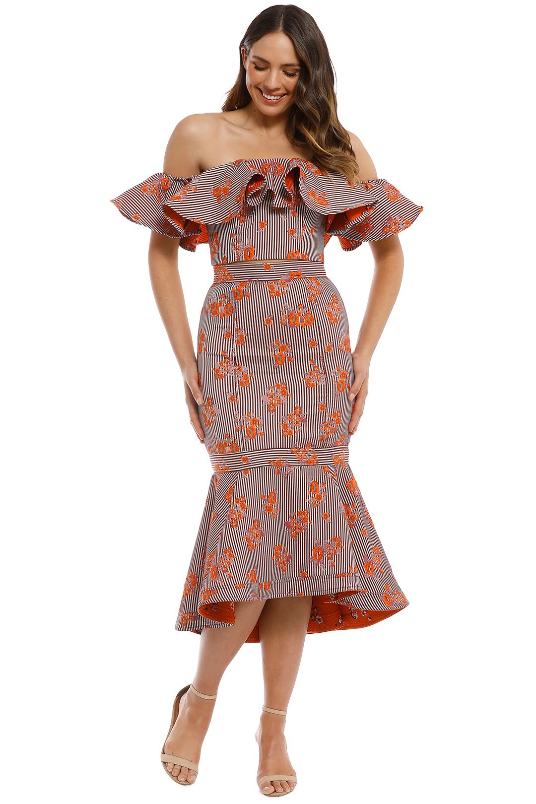 Keepsake The Label - Fixation Top and Skirt Set - Orange Print - Front