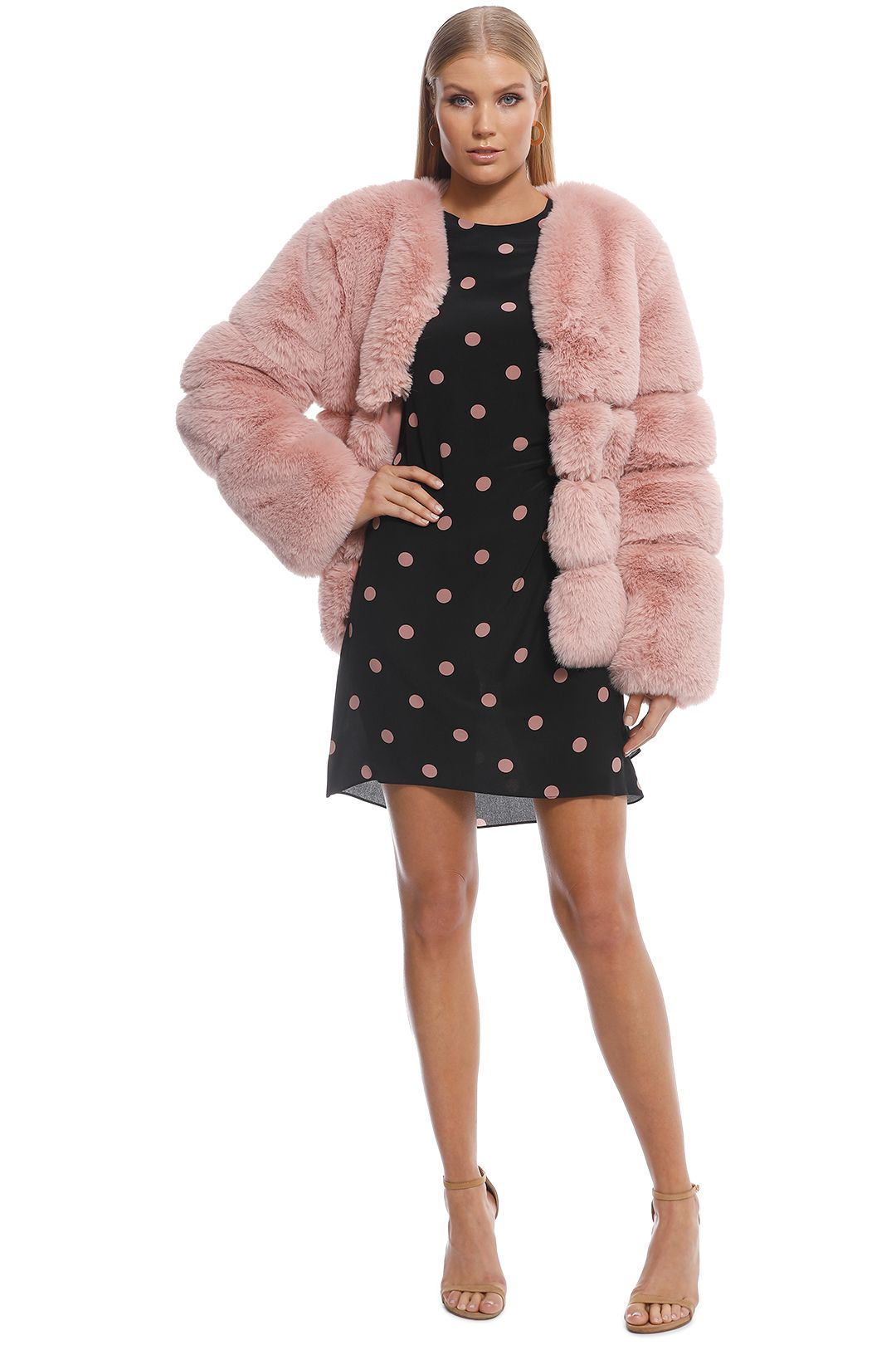 Keepsake the Label - Gleam Fur Coat - Dusty Pink - Front