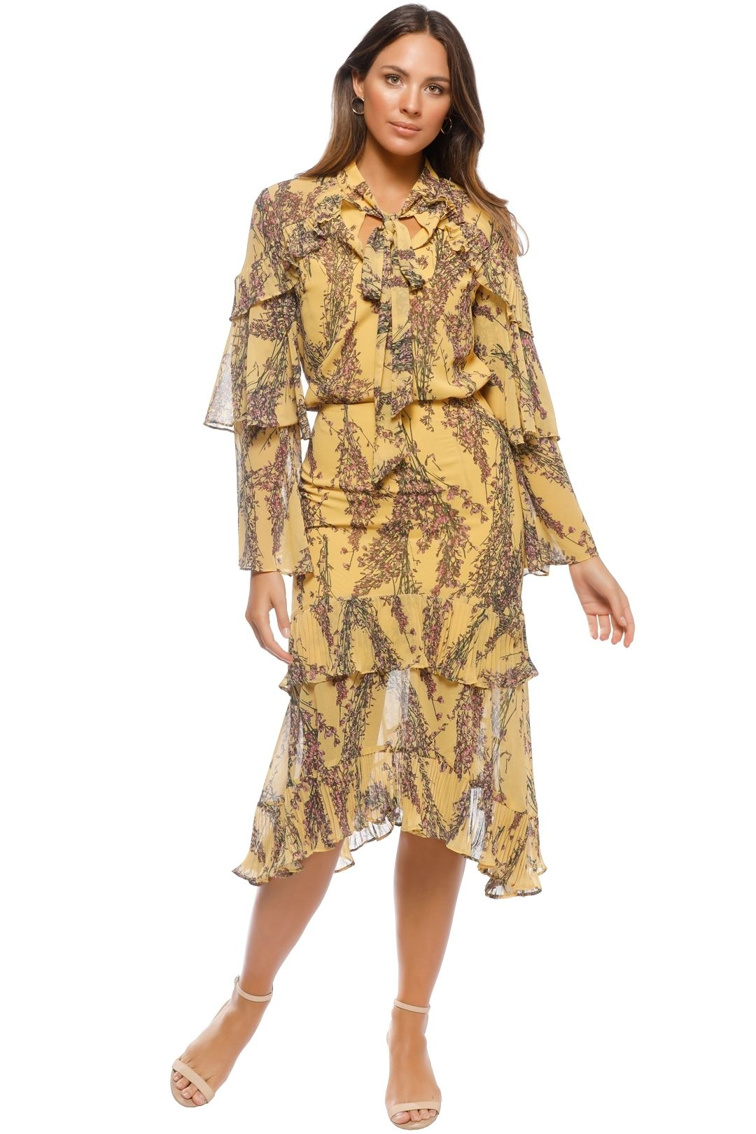 Keepsake the Label - Light Up Top and Skirt Set - Mustard Print - Front