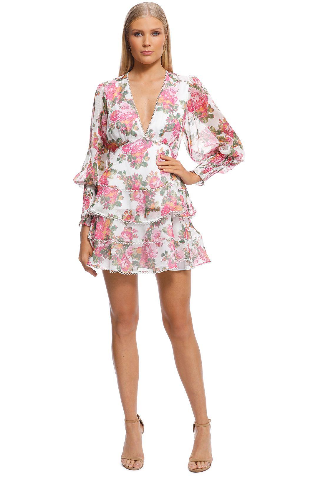 Keepsake The Label - Oblivion LS Mini Dress - Ivory Floral - Front