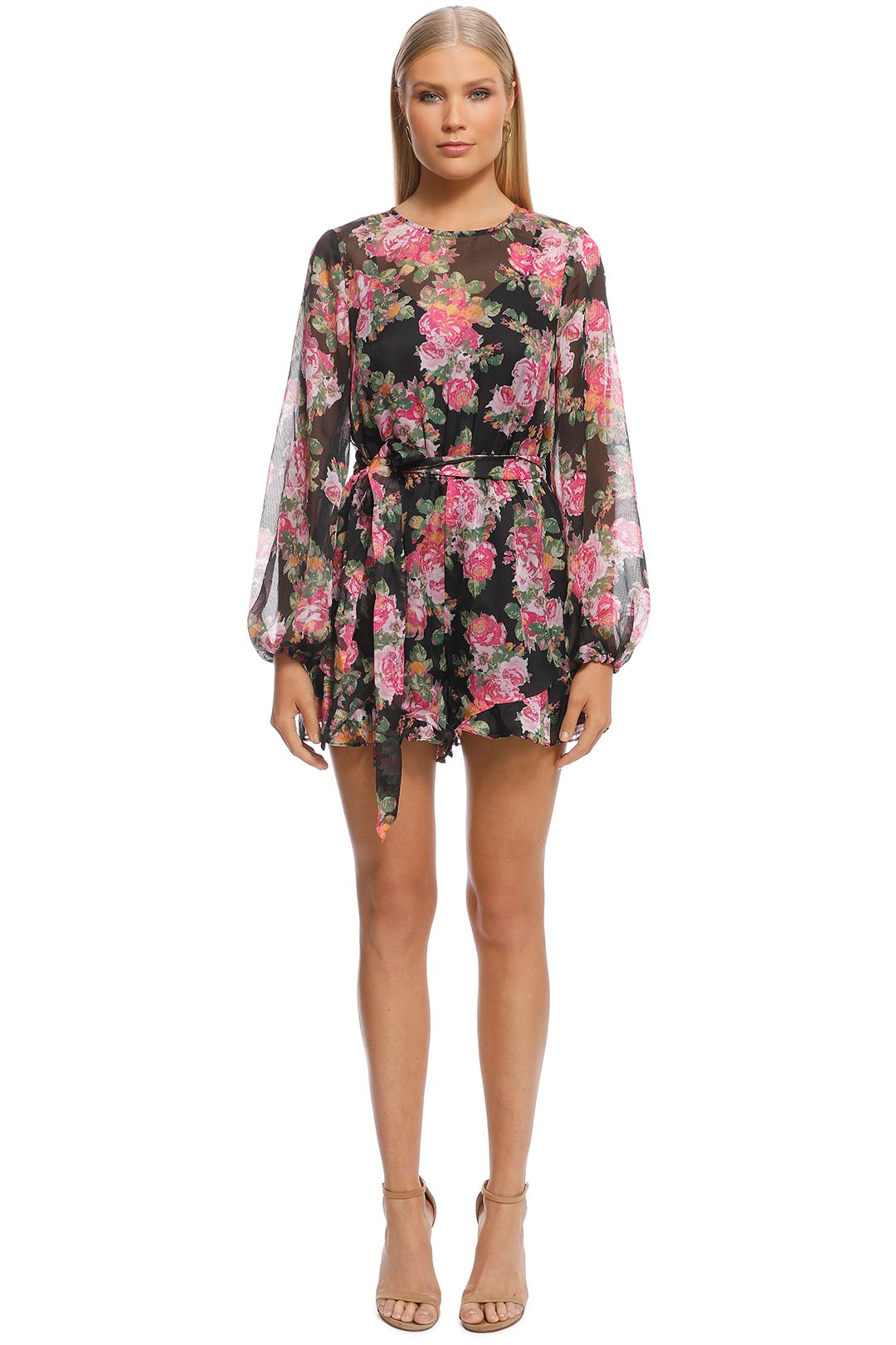 Keepsake the Label - Oblivion LS Playsuit - Black Floral - Front