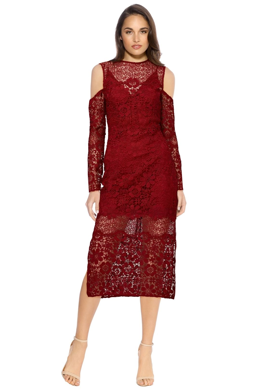 Keepsake The Label - Reach Out LS Midi Dress - Plum - Wine Red - Front