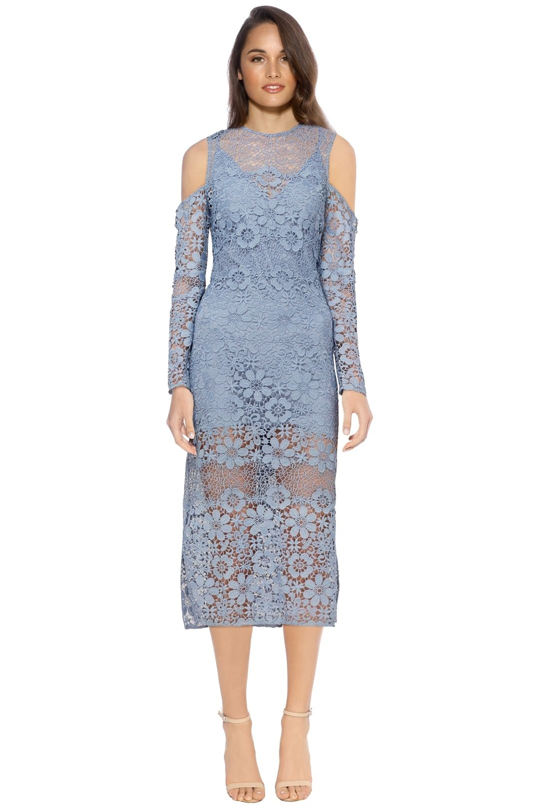 Keepsake The Label - Reach Out LS Midi Dress Steel - Blue - Front