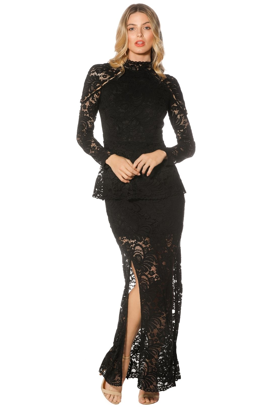 Keepsake The Label - Star Crossed Lace Gown - Black - Front