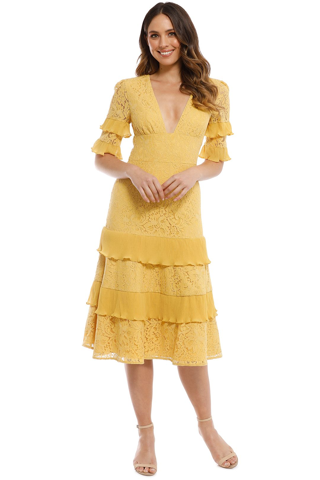 Keepsake The Label - Timeless Lace Midi Dress - Golden Yellow - Front