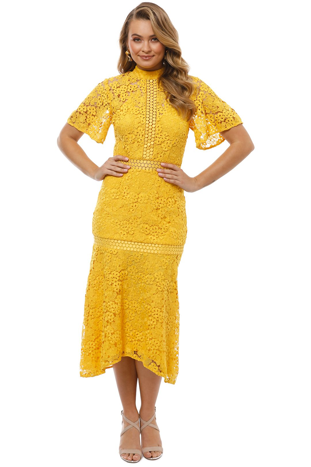 Keepsake the Label - Utopia Lace Midi Dress - Golden Yellow - Front