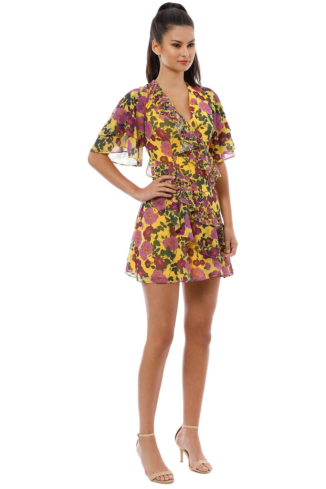 Keepsake the Label - Waves Mini Dress - Golden Floral - Side