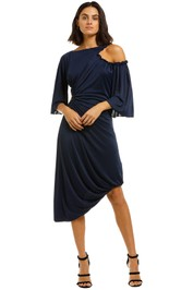 KITX-Cellular-Drape-Dress-Navy-Front
