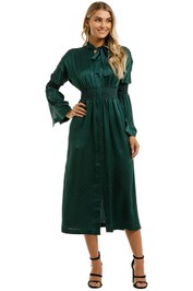 KITX-Essence-Spot-Shirred-Dress-Emerald-Front