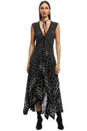 KITX - Sacred Geo Ruffle Dress - Black Cream - Front