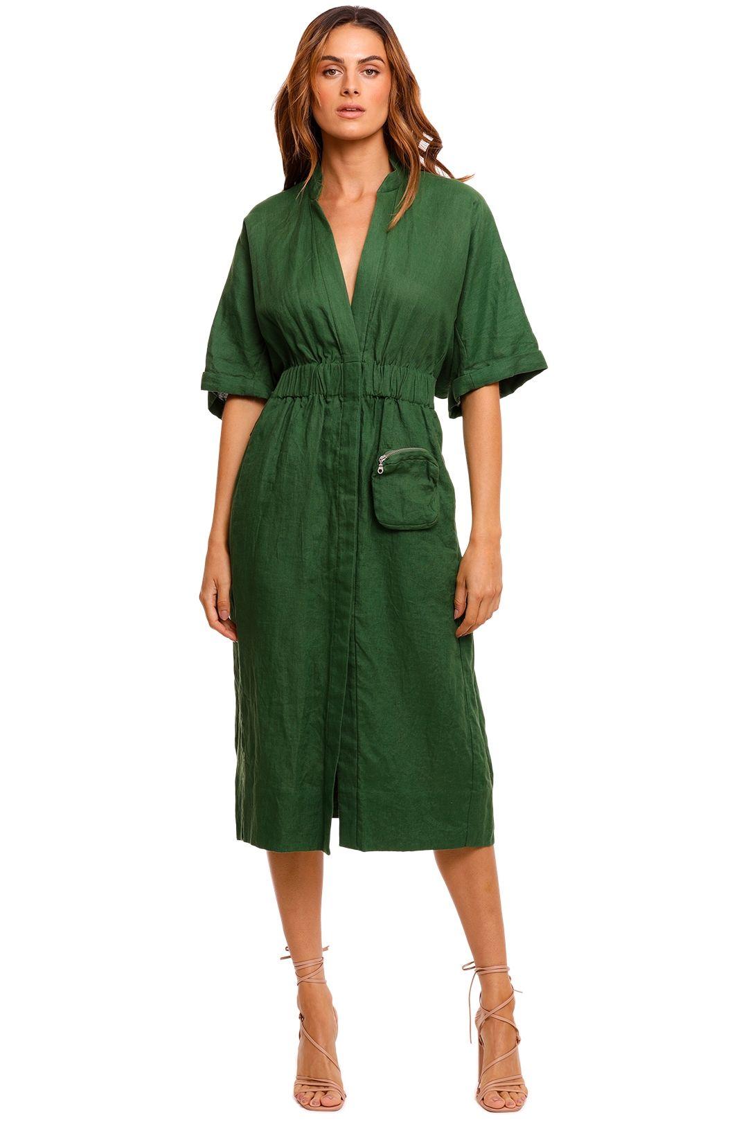KITX Declaration Green Linen Shirt Dress half sleeve