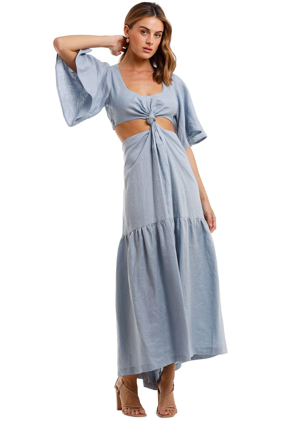 KITX Linen Knot Dress flutter sleeve