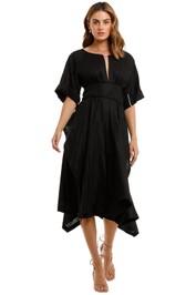 KITX Localised Black Linen Midi Dress keyhole