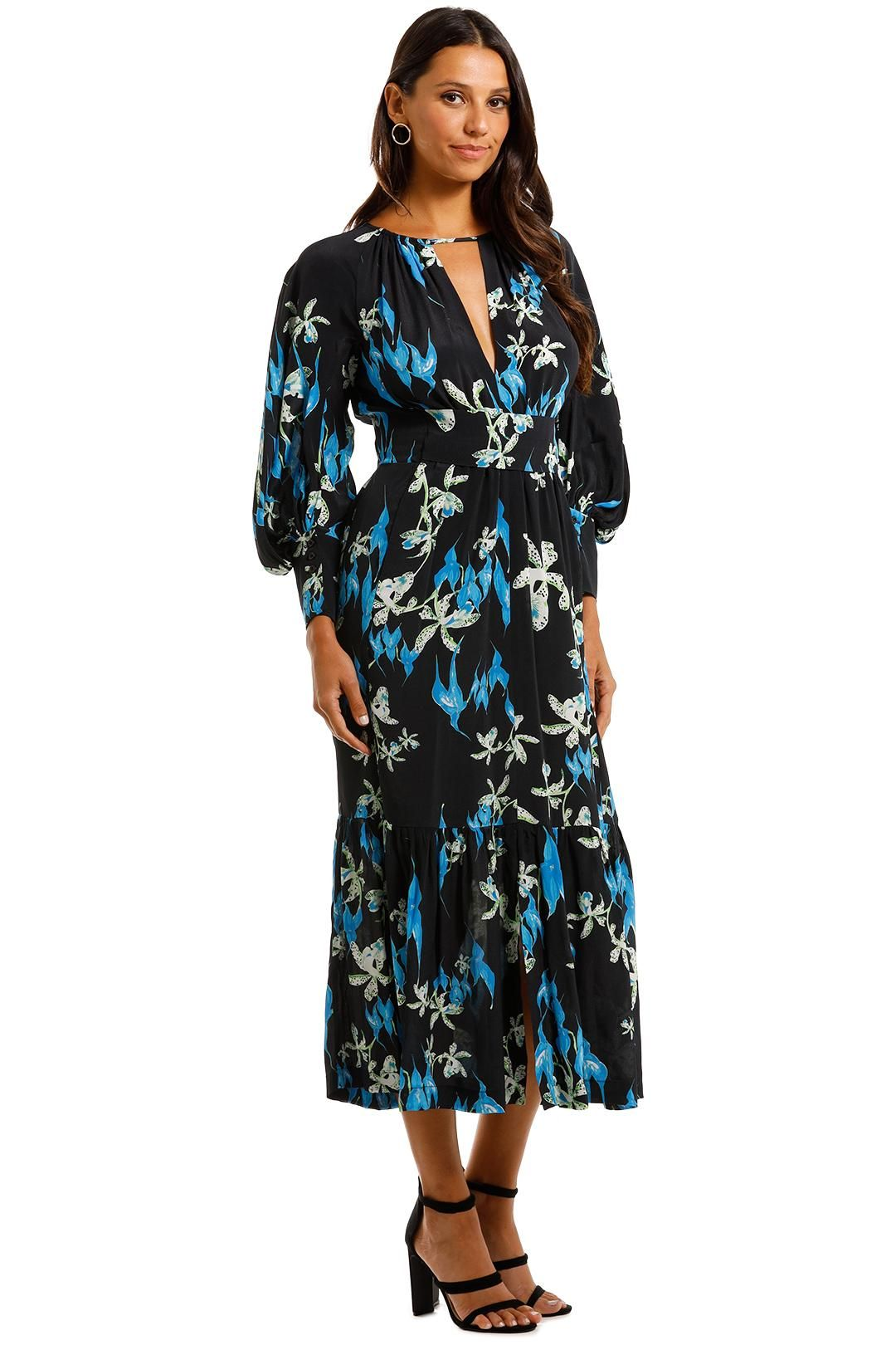 KITX Restoration Blue Midi Dress Floral Print