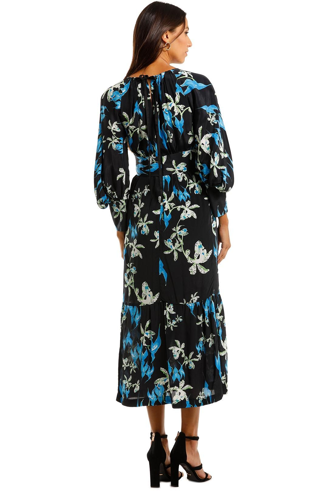 KITX Restoration Blue Midi Dress Floral Print Long Sleeve