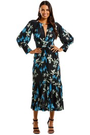 KITX Restoration Blue Midi Dress Floral Print V Neck